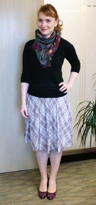 Purple plaid pleated skirt