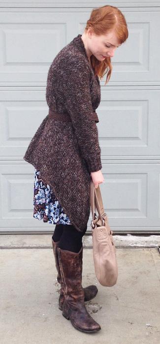 Frye distressed Melissa boots; Zara chunky cardigan