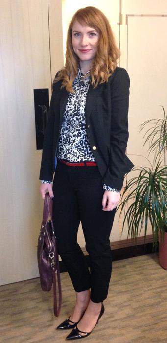 office ootd; office style; J. Crew snowcat shirt