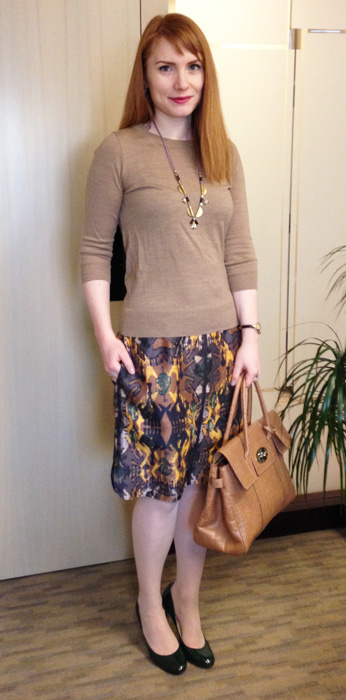 Boss ikat print skirt; Mulberry Bayswater soft biscuit croc