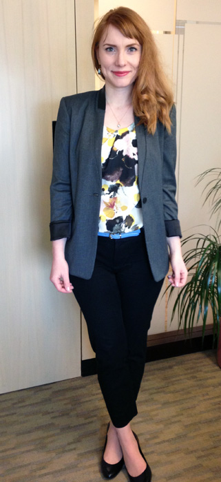 Elie Tahari Linda blazer; subtle floral print for office