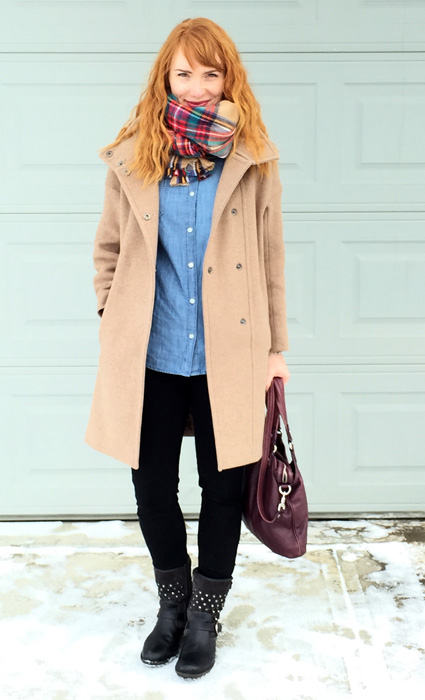 MaxMara coat, chambray shirt casual