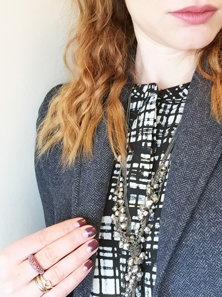 Joe Fresh shift dress; J. Crew tweed blazer