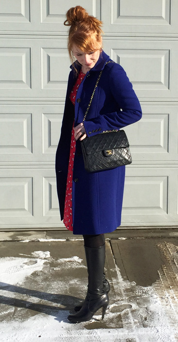 J. Crew Lady Day cobalt coat; Boden Pimlico dress