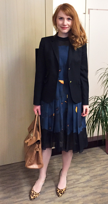 3.1 Phillip Lim blue silk pleated dress