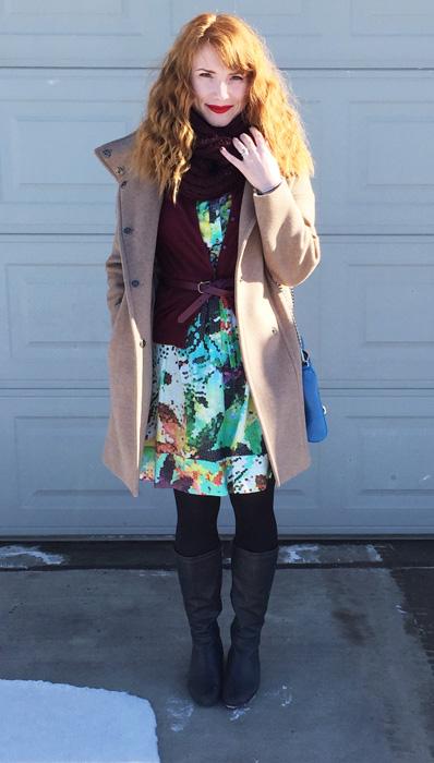 Pixelated floral shirt dress