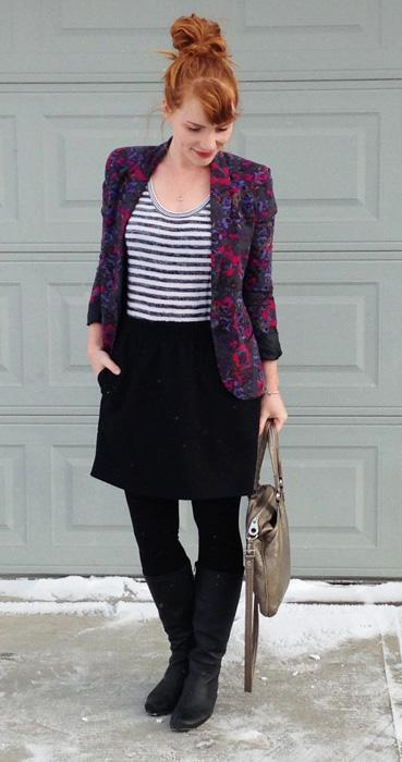 Silence & Noise floral blazer; floral blazer plus stripes