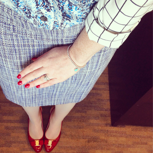 Equipment Brett blouse; Ferragamo Flavia red pumps