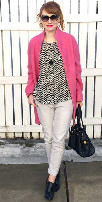 pink wool coat; black white and grey outfit