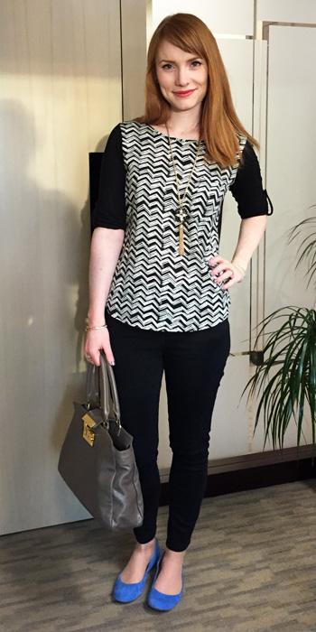 Pleione black & white zigzag top