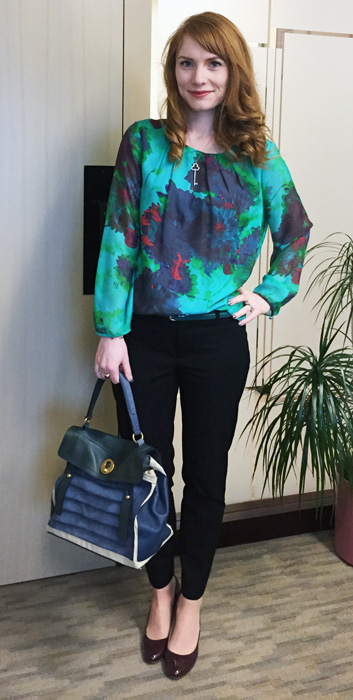 YSL Muse Two Tricolour bag; J. Crew hothouse floral