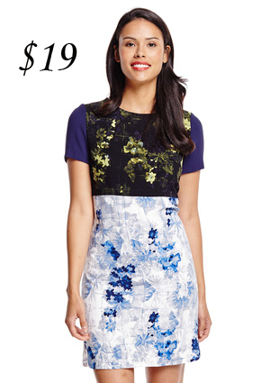 Ivanka Trump Two Tone Floral Sheath Dress