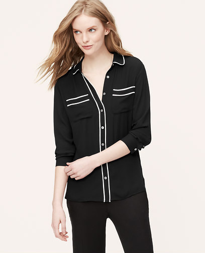 LOFT Tipped Utility Blouse