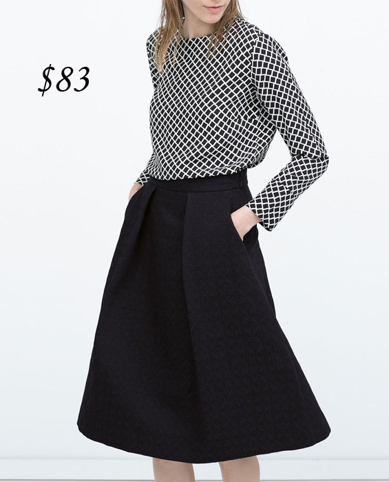 Zara Box Pleat Midi Skirt