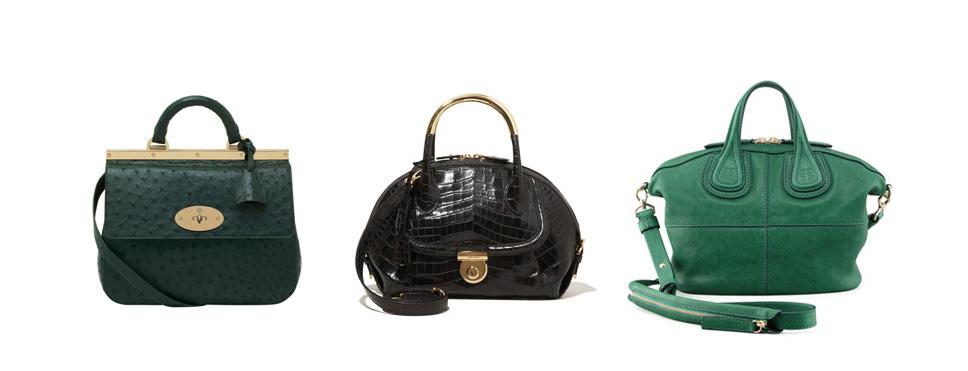 A sampling of Holy Grail bags: Mulberry Suffolk - ostrich; Ferragamo Fiamma - croc; Givenchy Nightingale