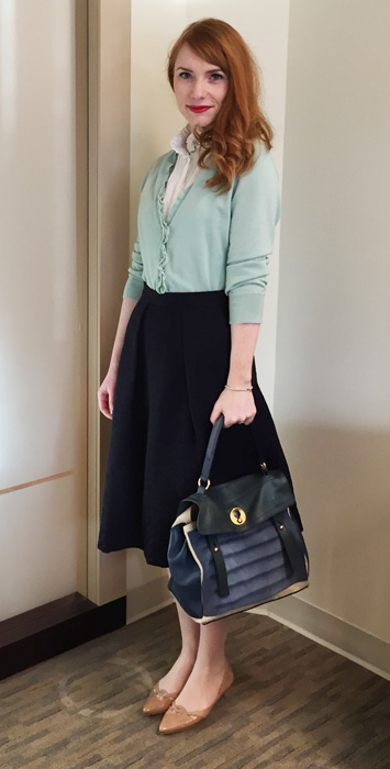 Zara box pleat midi skirt; YSL Muse Two Tricolor
