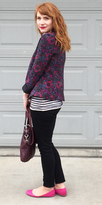 J. Crew pink flats; Silence & Noise floral blazer