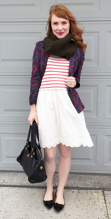 striped eyelet dress