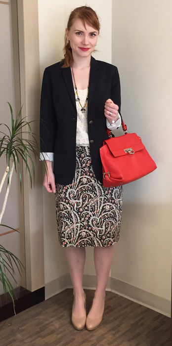 J. Crew feather paisley skirt