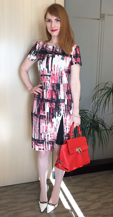 Dress, eci; shoes, Manolo Blahnik (thrifted!); bag, Ferragamo (via eBay)
