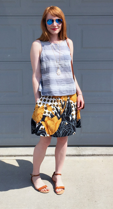 Skirt, Anthropologie (thrifted); top, necklace & shoes, Old Navy; bag, Coach (vintage, eBay)
