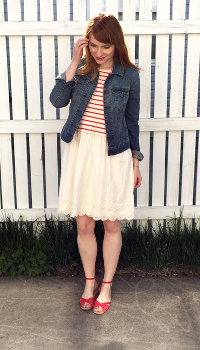 Jacket, Tommy Hilfiger; dress, Earth, Music, Ecology; shoes, Gap Outler