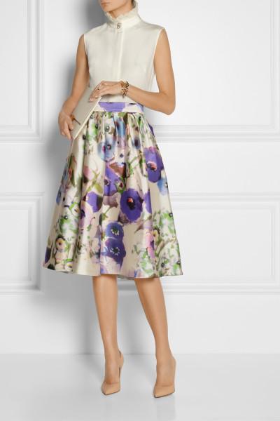Lela Rose Floral Print Skirt