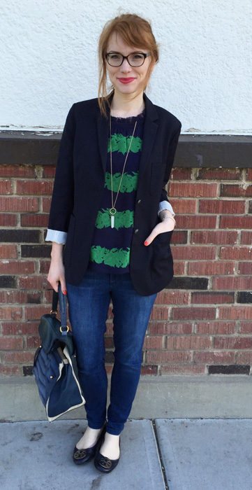 Top, J. Crew (via consignment); jeans, Rachel Roy; blazer, Aritzia; shoes, Tory Burch (via consignment); bag, YSL (via eBay)