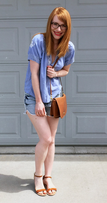 Top, J. Crew Factory; shorts, Winners; shoes, Old Navy; bag, Coach