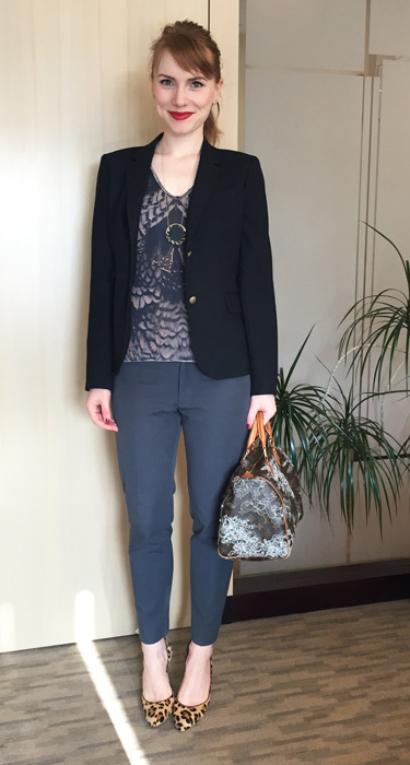 Blazer, J. Crew; top, AllSaints (via consignment); pants, Banana Republic; shoes, Anne Klein; bag, Louis Vuitton (via Kijiji); necklace, House of Harlow