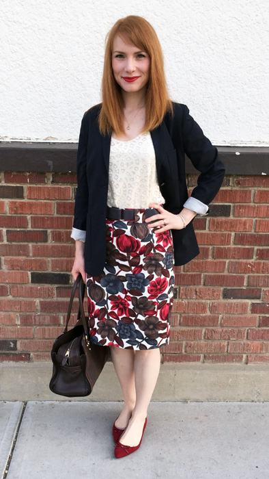 Blazer, Aritzia; top, Loft (swap); skirt, Boden (via eBay and Lou); shoes, Ellen Tracy; bag, Mulberry (via eBay)