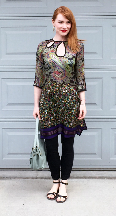 Tunic, Etro (via consignment); sandals, J. Crew Factory; bag, Marc Jacobs (via eBay)