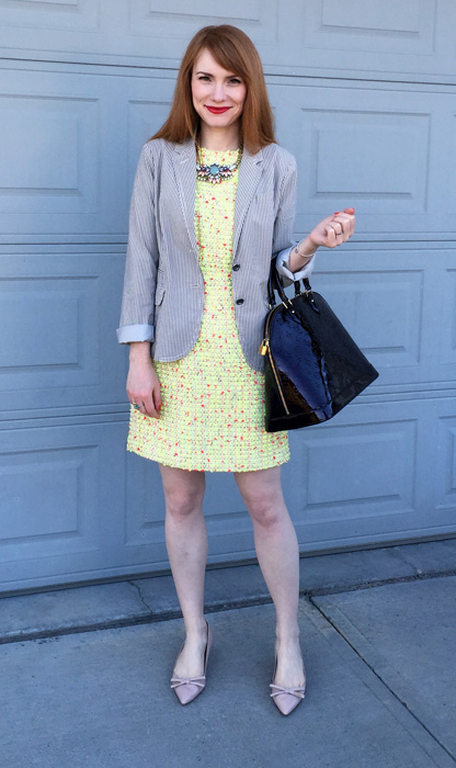 Dress & blazer, J. Crew (via consignment); necklace, J. Crew Factory; shoes, Prada; bag, Louis Vuitton