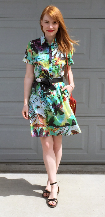 Dress, Katherine Barclay; belt, H&M; shoes, J. Crew Factory; bag, Coach (vintage)