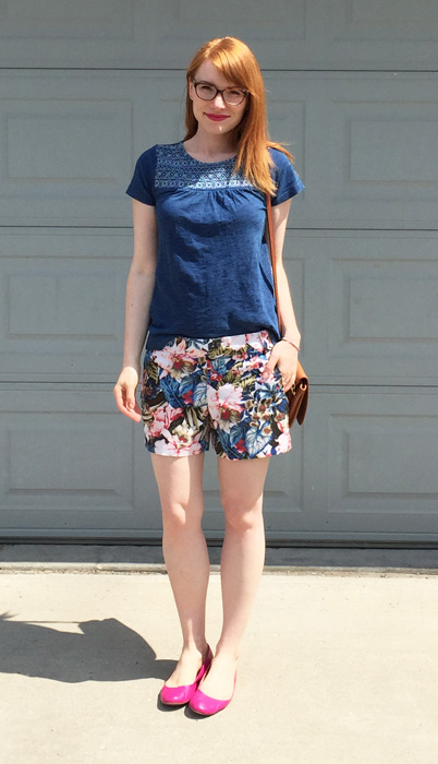 top, Joe Fresh; shorts, J. Crew Factory; shoes, J. Crew; bag,