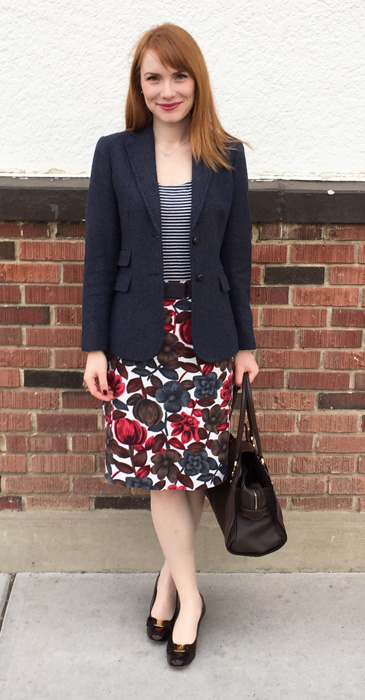 Blazer, J. Crew Factory; skirt, Boden; top, Gap; shoes, Ferragamo; bag, Mulberry