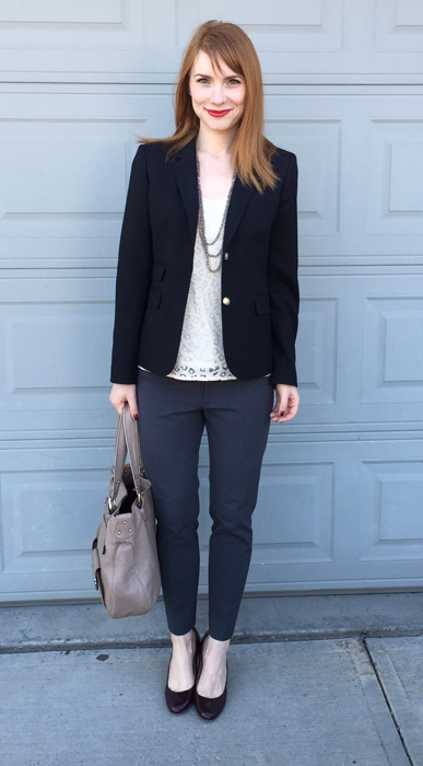 Blazer, J. Crew; top, LOFT (swap); pants, Banana Republic; shoes, J. Crew; bag, Marc Jacobs; necklace, Cleo