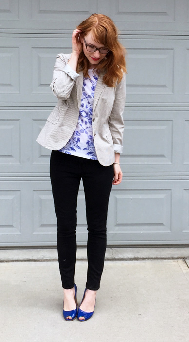 Blazer, J. Crew (via consignment); top, J. Crew Factory (thrifted); pants, AE; shoes, Stuart Weitzman