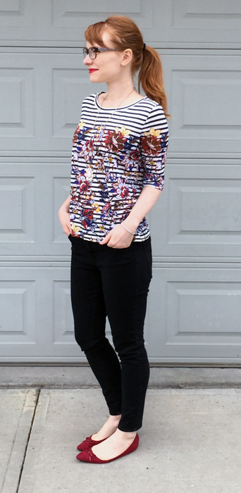 top, J. Crew; jeans, AE; shoes, Ellen Tracy; necklace, Old Navy