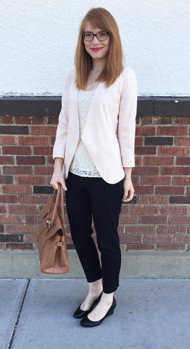 blazer, Topshop; top, LOFT (swap); pants, BR; shoes, Calvin Klein; bag, Mulberry