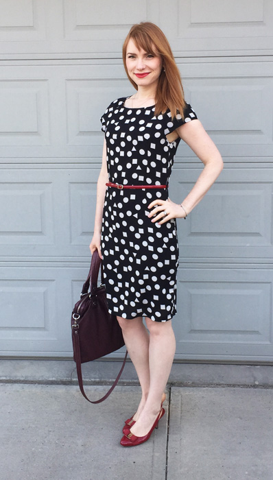 Dress, Avenue Clothing; belt, Holt Renfrew; shoes, Ferragamo; bag. MbMJ