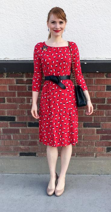 Dress, Boden (via eBay); belt, H&M; brooch, vintage; shoes, Nine West (via consignment)