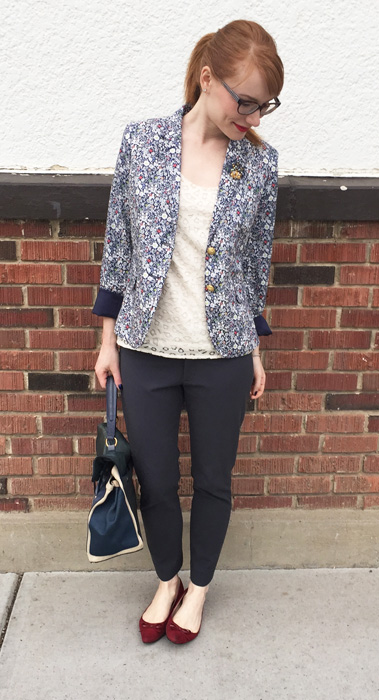 Blazer, J. Crew (via consignment); top, LOFT (swap); pants, BR; shoes, Ellen Tracy; bag, YSL (via eBay)