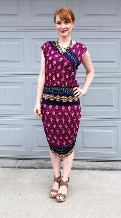 Dress, RACHEL Rachel Roy (via consignment); necklace, Winners; shoes, Steve Madden (via consignment)
