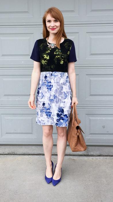 Dress, Ivanka Trump (via eBay); shoes, J. Crew (via consignment); necklace, J. Crew Factory; bag, Mulberry