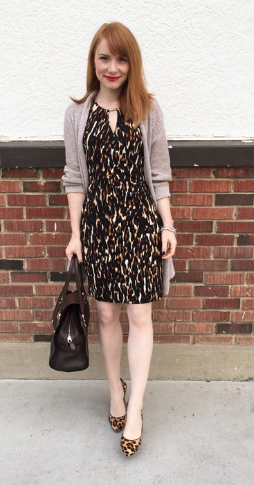 Dress, Calvin Klein (gift); sweater, Joe Fresh; shoes, Anne Klein; bag, Mulberry (via eBay)