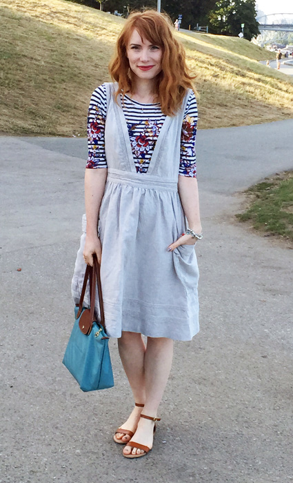 Dress, Anthropologie (thrifted); top, J. Crew; shoes, Old Navy; bag, Longchamps