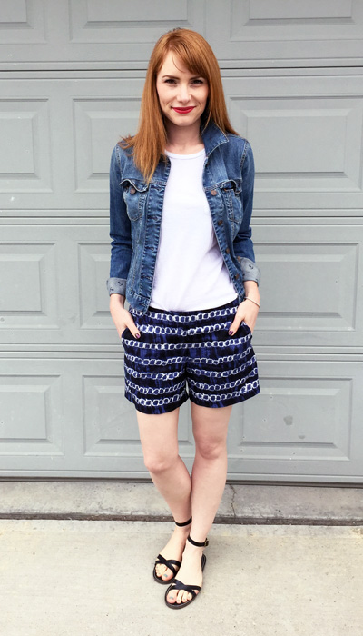 denim jacket, Tommy Hilfiger Factory; t-shirt, Old Navy; shorts & sandals, J. Crew Factory