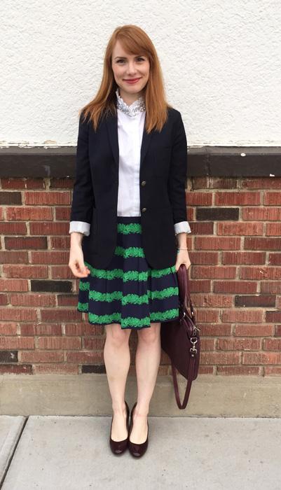 Skirt, J. Crew (via consignment); blouse, J. Crew Factory; blazer, Aritzia (via consignment); shoes, J. Crew; bag, MbMJ