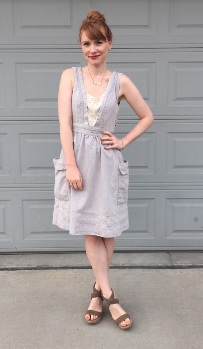 Dress, Anthropologie (thrifted); top, LOFT (swap); shoes, Steve Madden (via consignment)